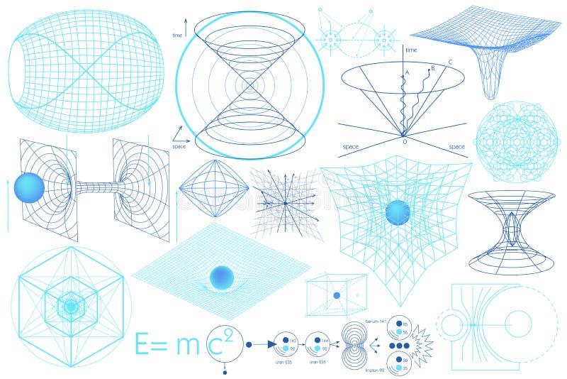 Éléments, symboles et plans de la Science illustration libre de droits