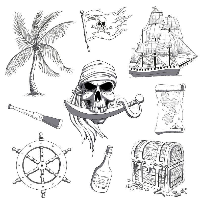 Éléments tirés par la main de conception de pirate illustration libre de droits