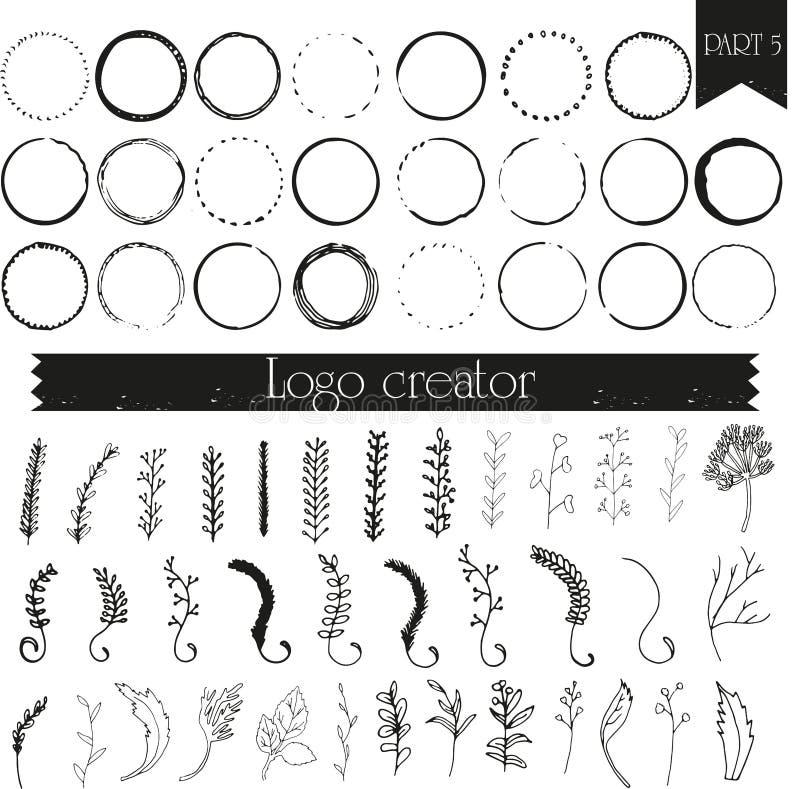 Éléments tirés par la main de logo illustration de vecteur