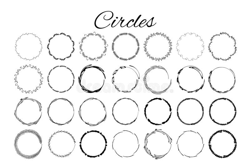 Éléments tirés par la main de logo avec des cercles illustration de vecteur