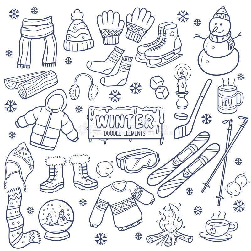 Éléments tirés par la main de saison d'hiver illustration stock