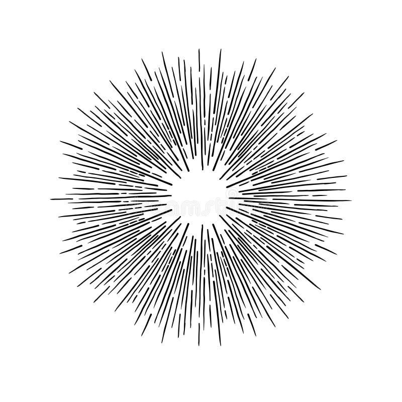 Éléments tirés par la main de vintage de vecteur - rayon de soleil éclatant des rayons P illustration de vecteur
