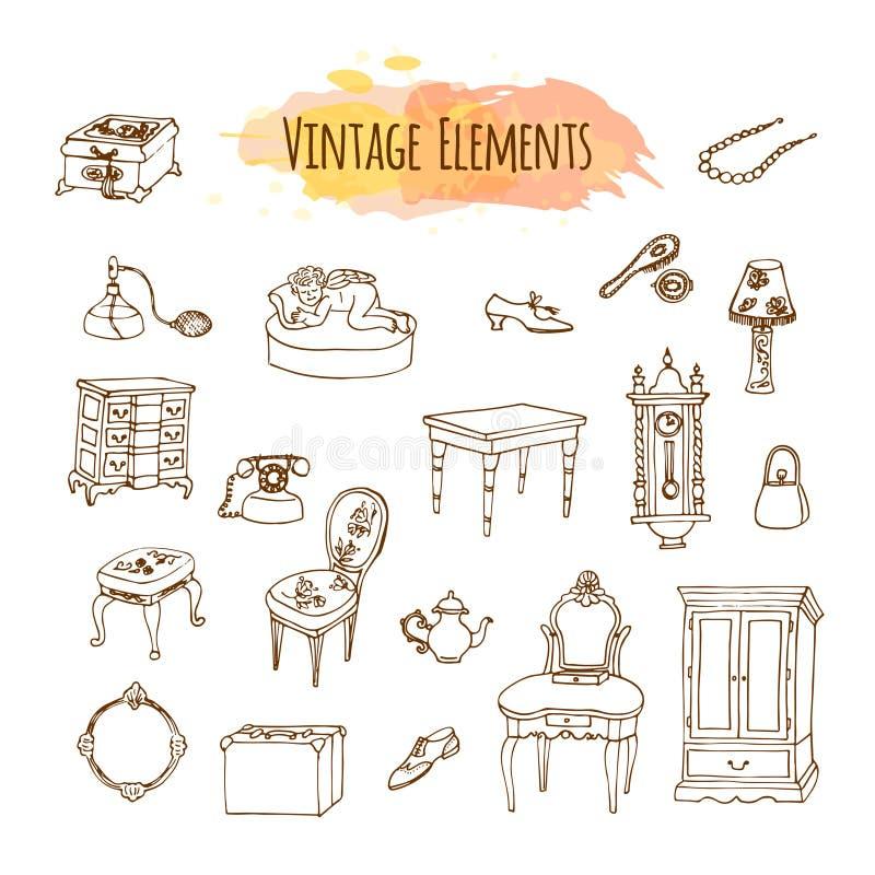Éléments tirés par la main de vintage Illustration de meubles antiques illustration libre de droits