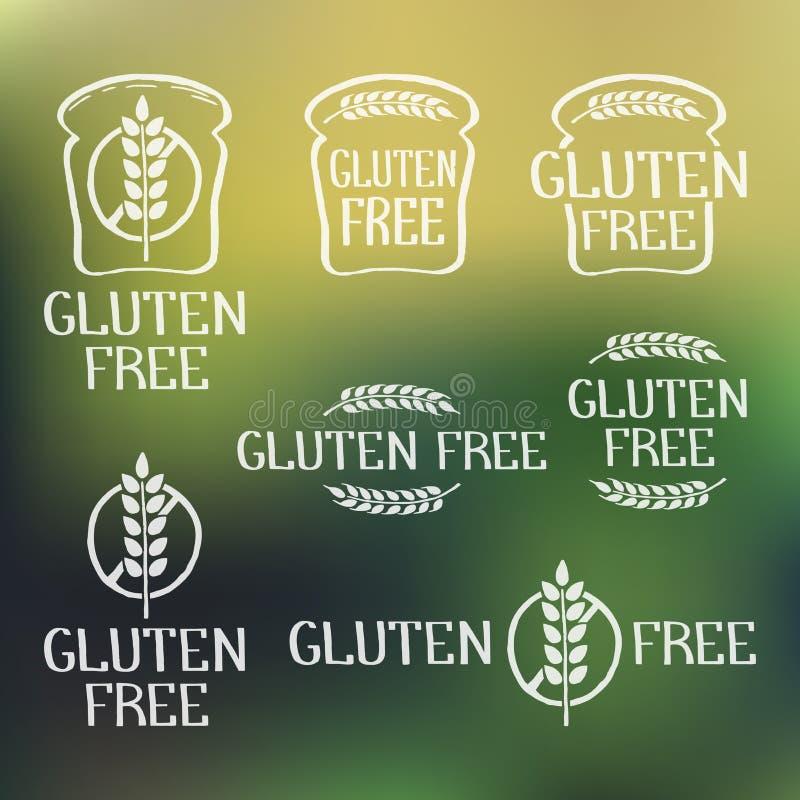 Éléments tirés par la main gratuits de logo de gluten sur le contexte brouillé illustration libre de droits