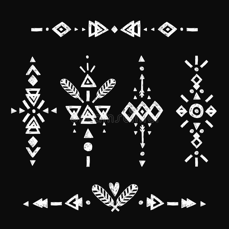 Éléments tirés par la main tribals de vecteur illustration stock