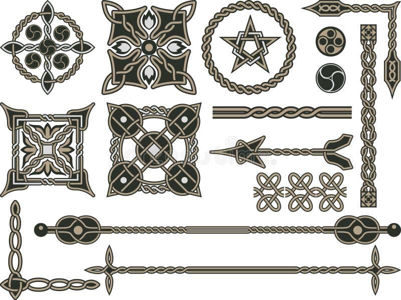 Éléments traditionnels celtiques illustration de vecteur
