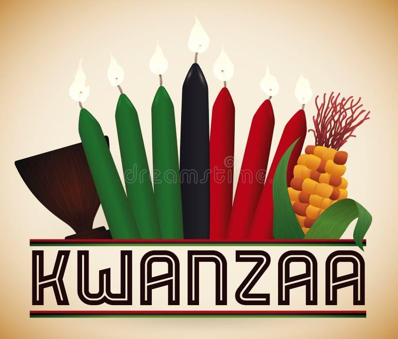 Éléments traditionnels de Kwanzaa, illustration de vecteur illustration libre de droits