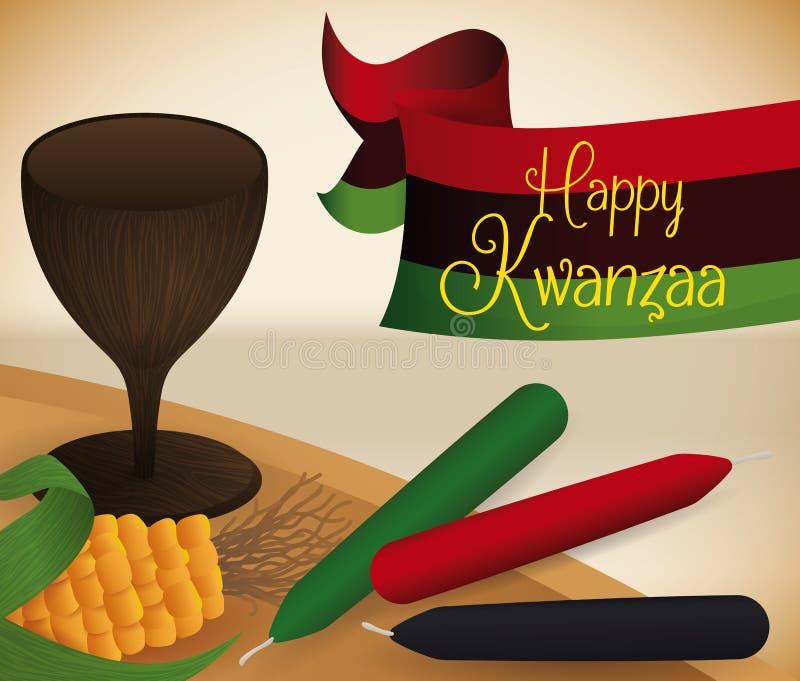 Éléments traditionnels de Kwanzaa sur le tapis, illustration de vecteur illustration libre de droits