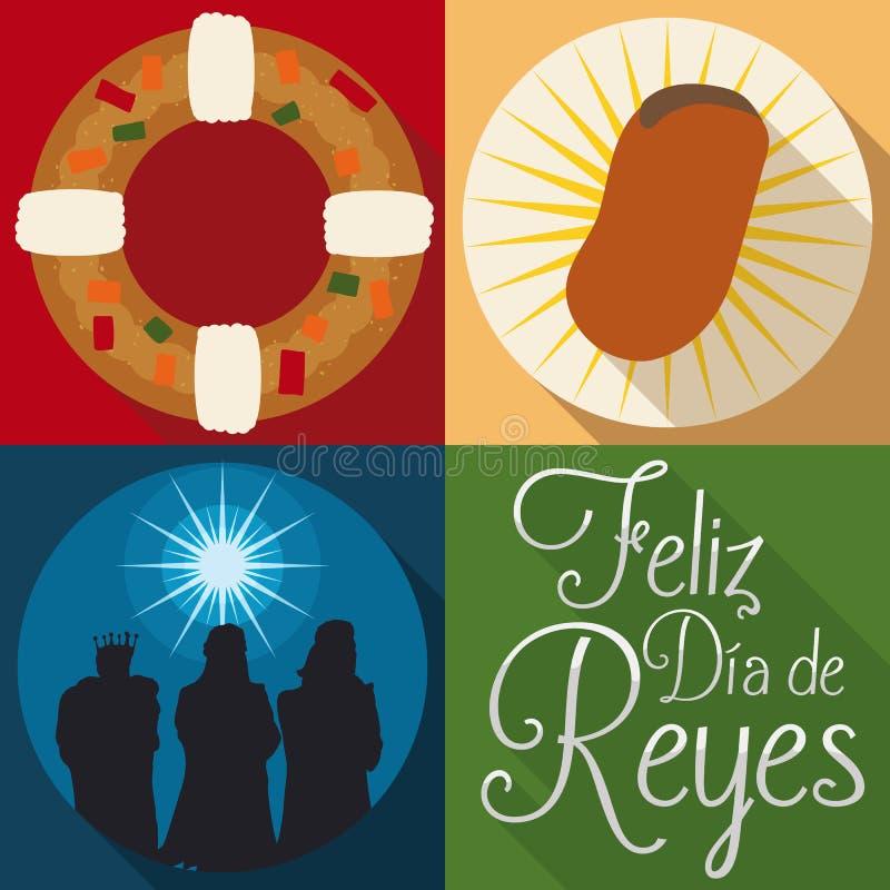 Éléments traditionnels pour le ` de Dia de Reyes de ` ou la célébration espagnol d'épiphanie, illustration de vecteur illustration libre de droits