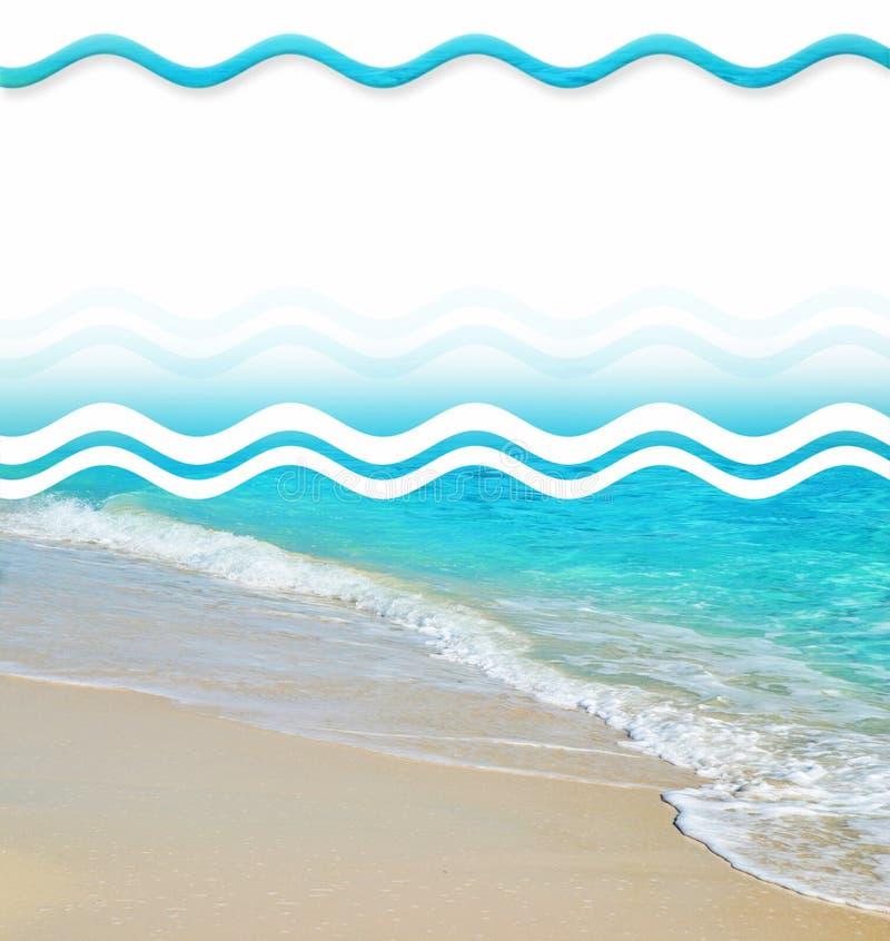 Éléments tropicaux de conception de plage de sable illustration de vecteur