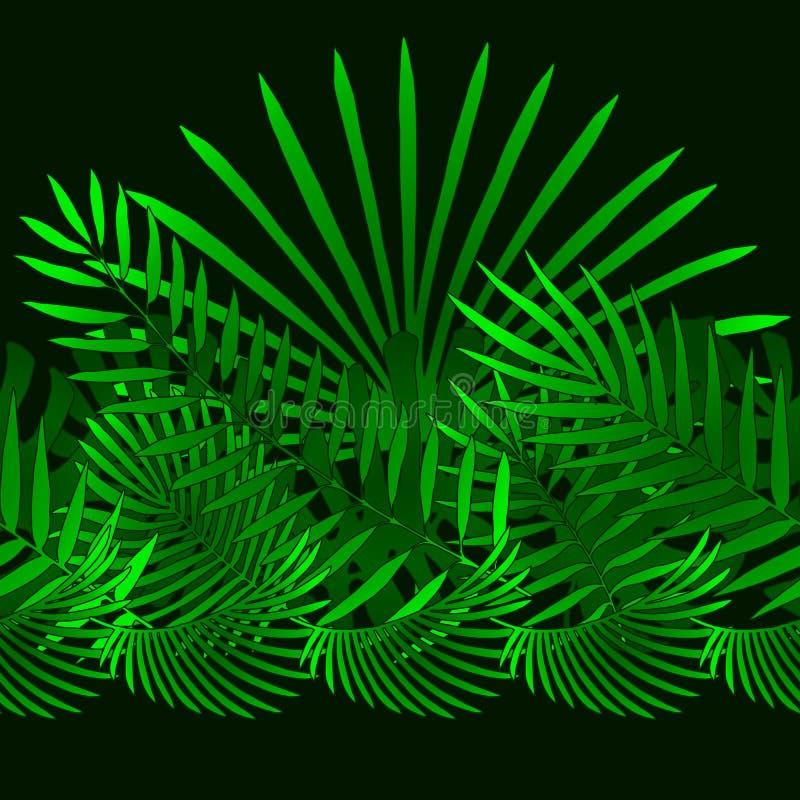 Éléments tropicaux et de palmettes en tant que modèle horizontal vert illustration libre de droits