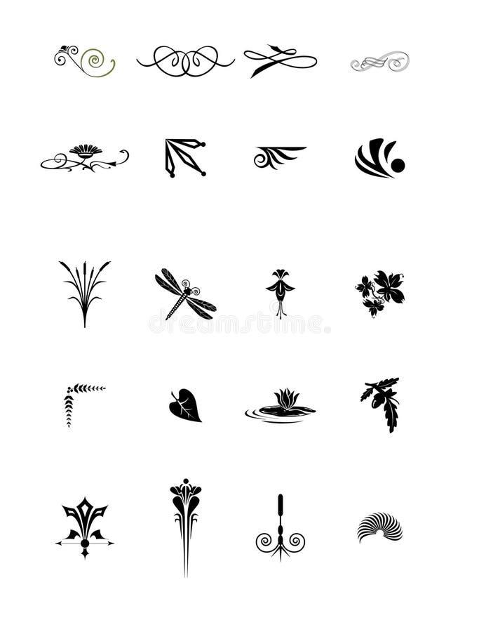Éléments végétaux décoratifs illustration de vecteur