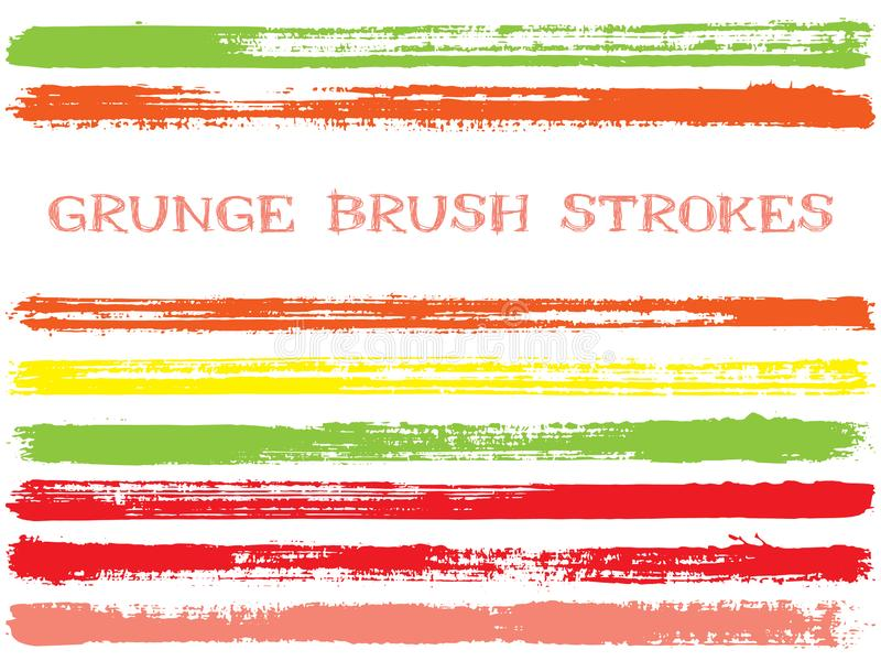 Éléments verts rouges de conception de courses de brosse d'encre Ensemble de lignes de peinture Rayures sèches, formes texturisée illustration de vecteur