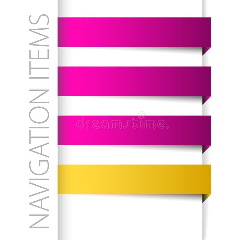 Éléments violets modernes de navigation dans le bar droit illustration de vecteur