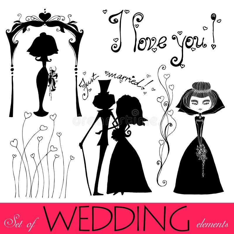 Éléments wedding illustrés illustration stock