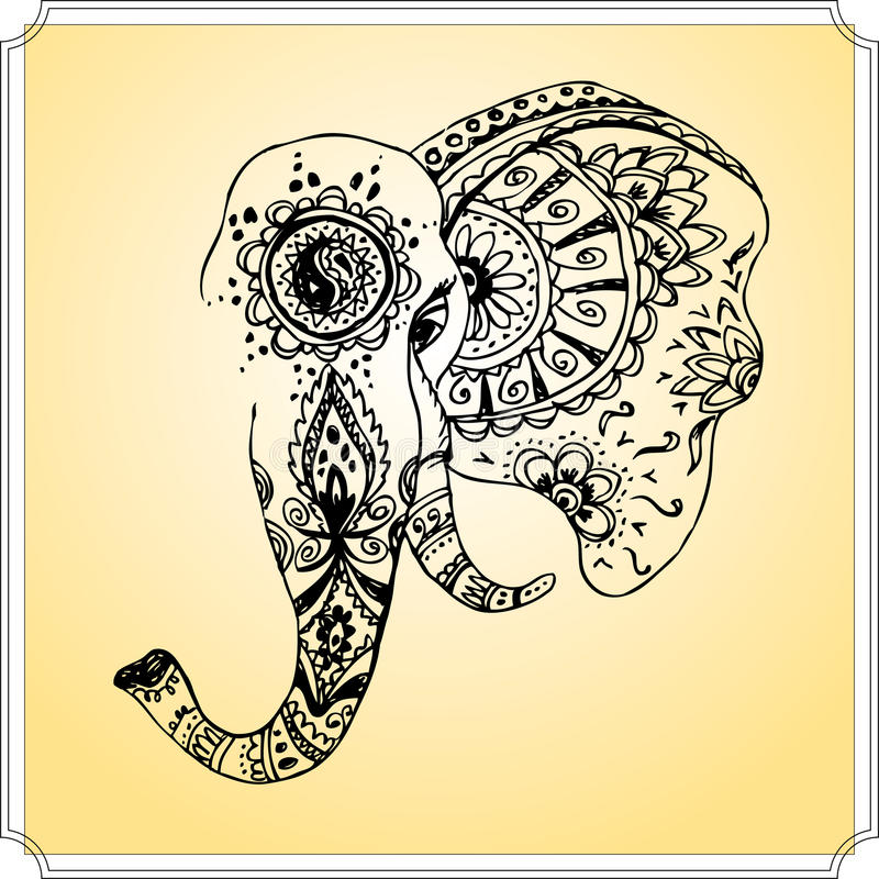 L phant abstrait dans le mehndi indien de style dessin de main illustration de vecteur image - Elephant indien dessin ...