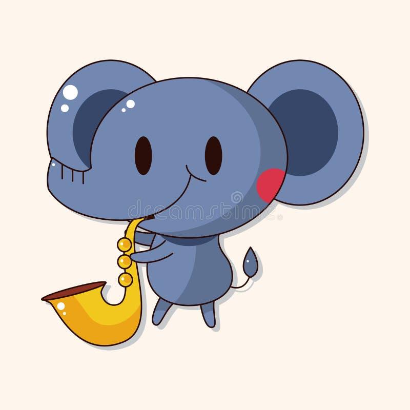 Éléphant animal jouant des éléments de thème de bande dessinée d'instrument illustration stock