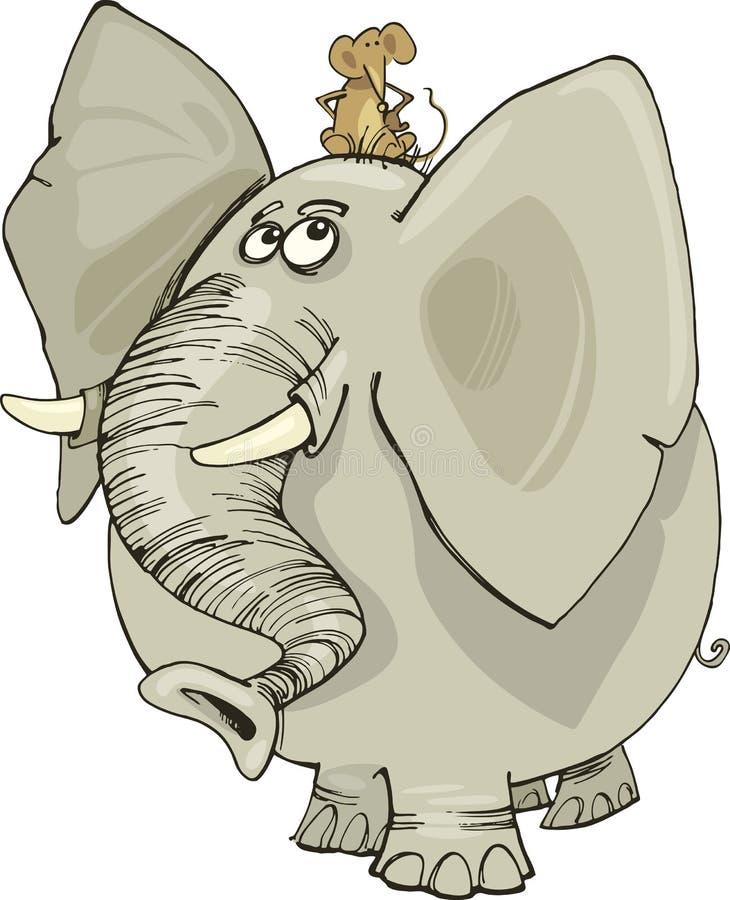 Éléphant avec la souris illustration libre de droits