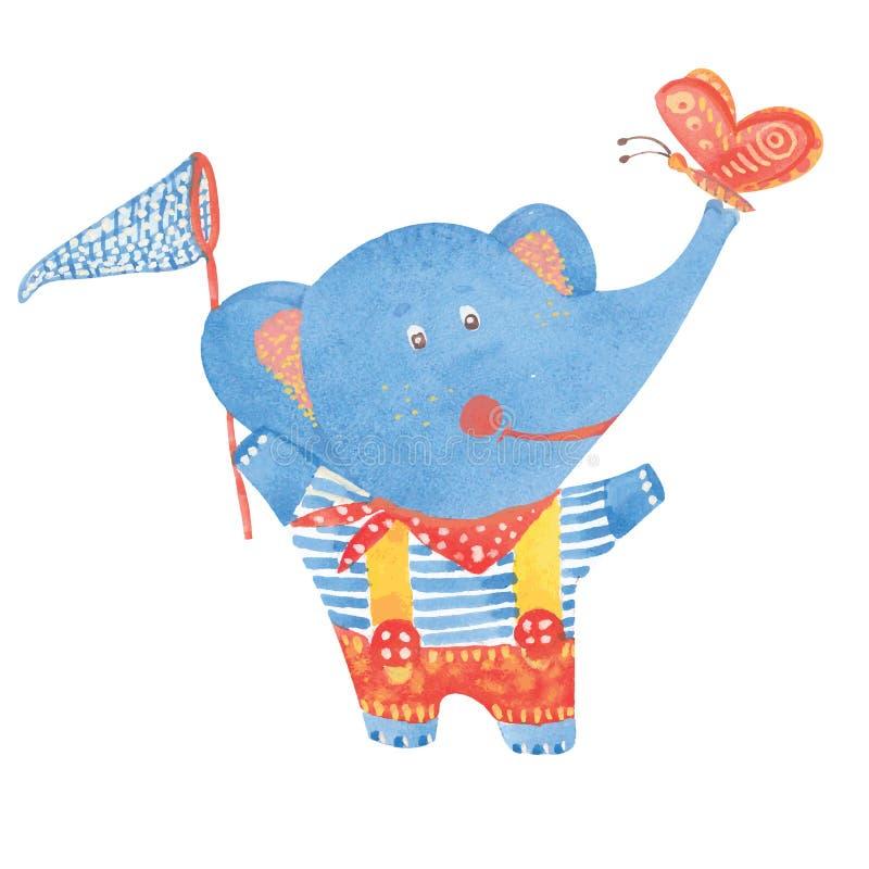 Éléphant avec le filet de papillon illustration stock