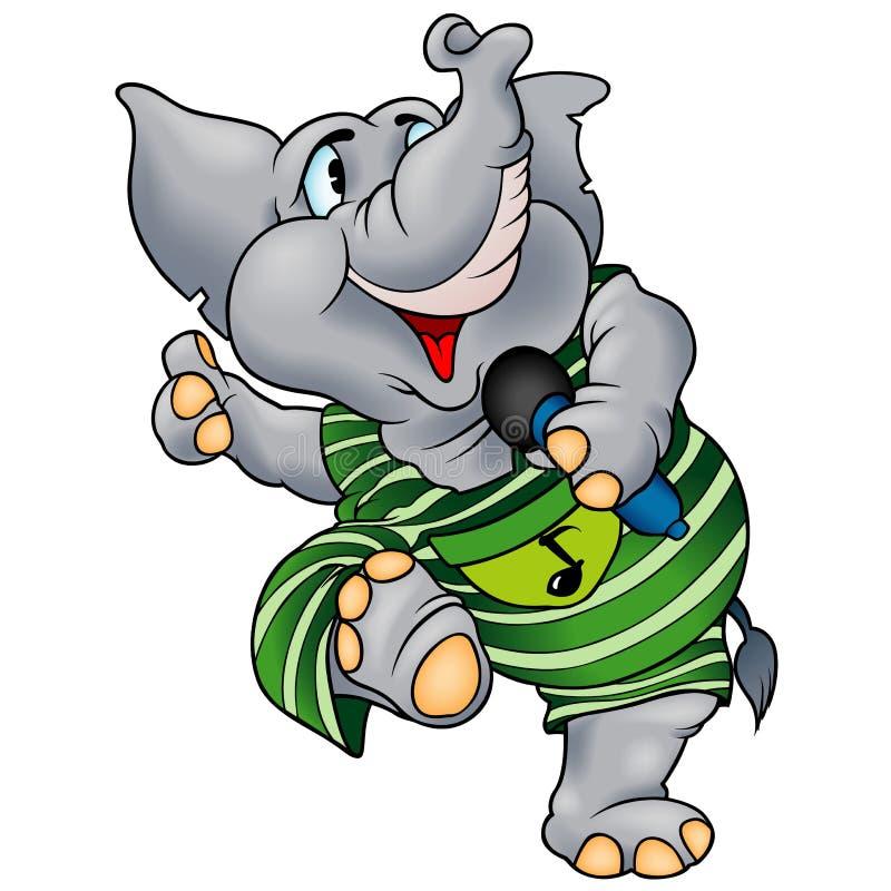 Éléphant avec le microphone illustration stock