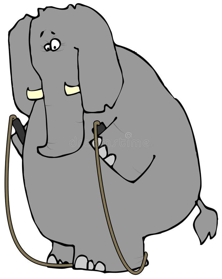 Éléphant avec une corde de saut illustration libre de droits