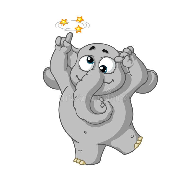 Éléphant caractère Fou aliéné Grande collection d'éléphants d'isolement illustration stock