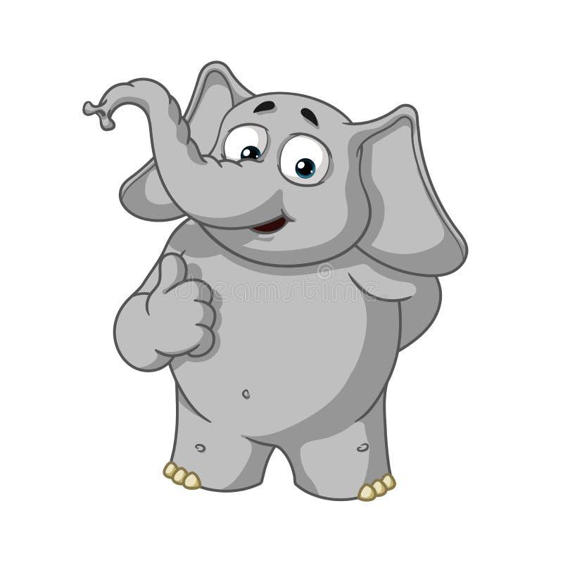 Éléphant caractère Il a soulevé un doigt, comme Grande collection d'éléphants Vecteur, bande dessinée illustration stock