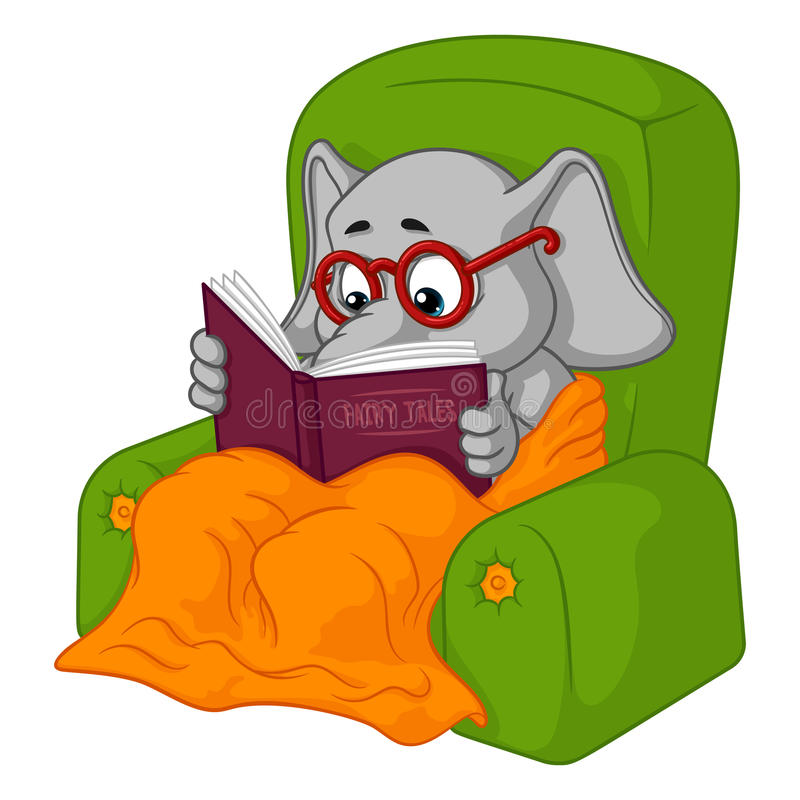 Éléphant caractère Lecture de chaise Grande collection d'éléphants d'isolement Vecteur, bande dessinée illustration de vecteur