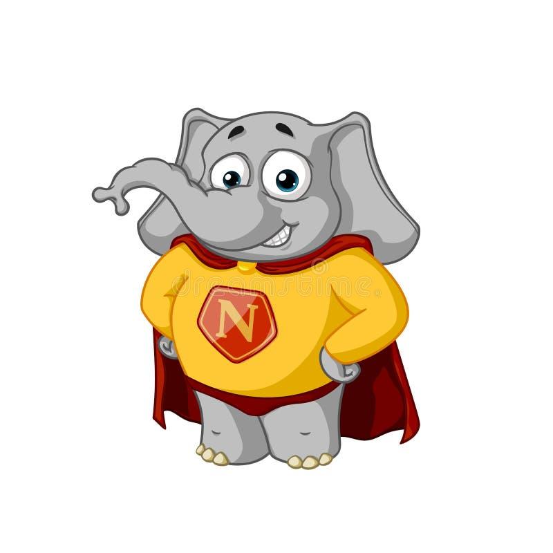 Éléphant caractère Un super héros dans un manteau rouge Grande collection d'éléphants d'isolement Vecteur, bande dessinée illustration stock