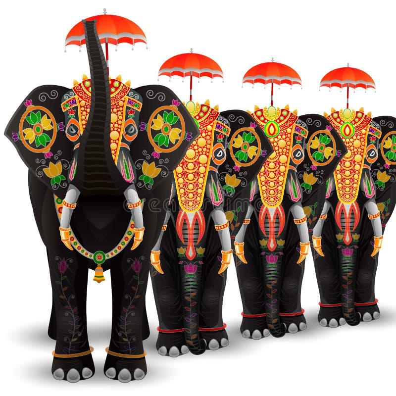 Éléphant décoré d'Inde du sud illustration stock
