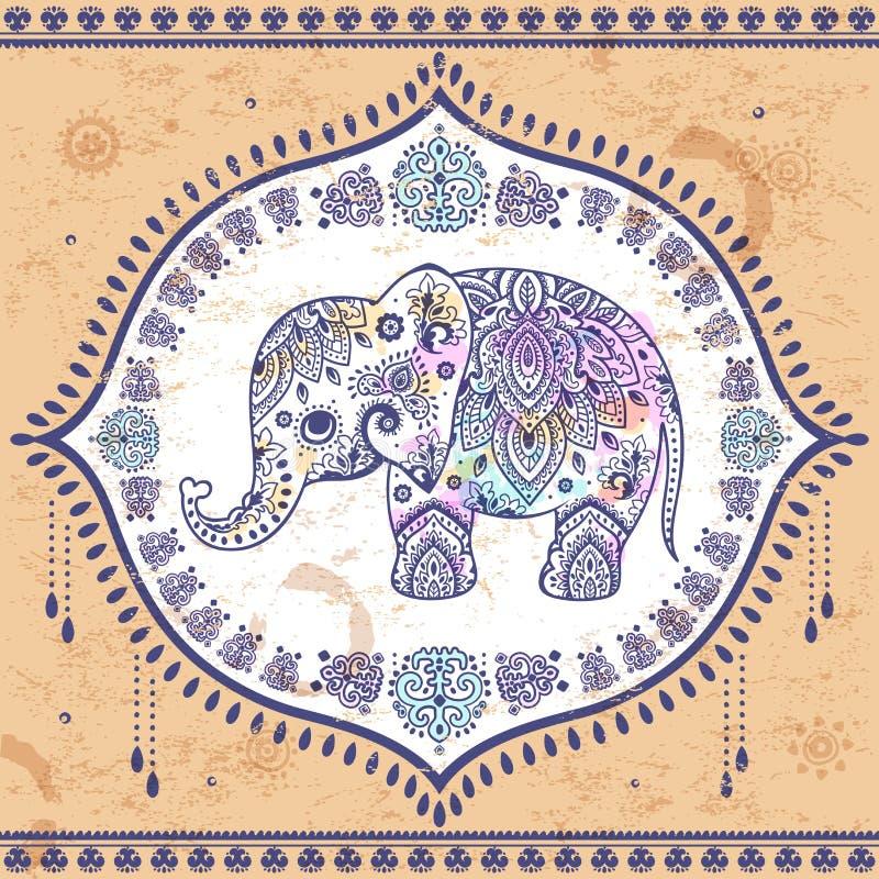 Éléphant d'Asie de vintage avec les ornements tribals Salutation de mandala illustration libre de droits