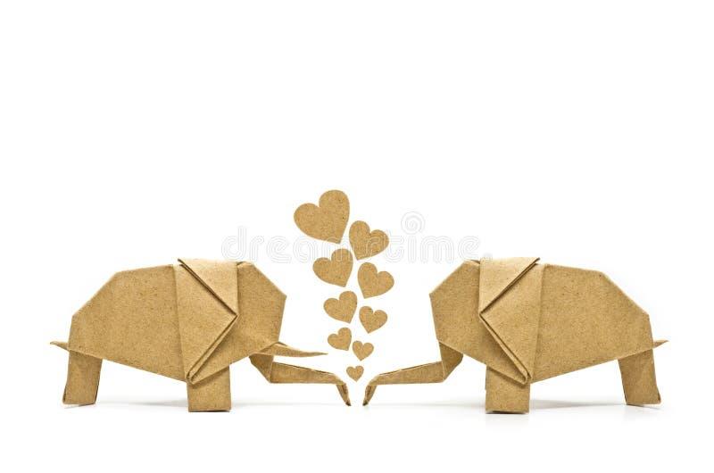 Éléphant d'origami de l'amour photo stock