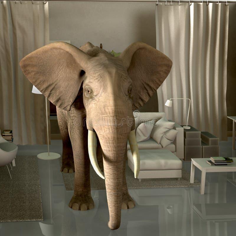 Éléphant dans la chambre illustration libre de droits