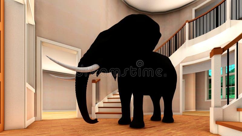 Éléphant dans le rendu du salon 3d illustration de vecteur