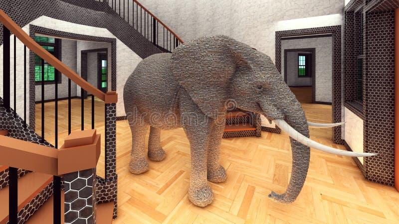 Éléphant dans le rendu du salon 3d illustration stock