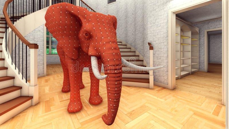 Éléphant dans le rendu du salon 3d illustration libre de droits