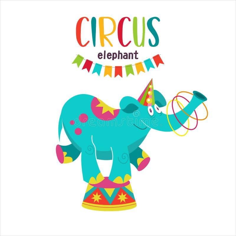 Éléphant de cirque équilibrant sur un piédestal Éléphant d'artiste de cirque illustration de vecteur