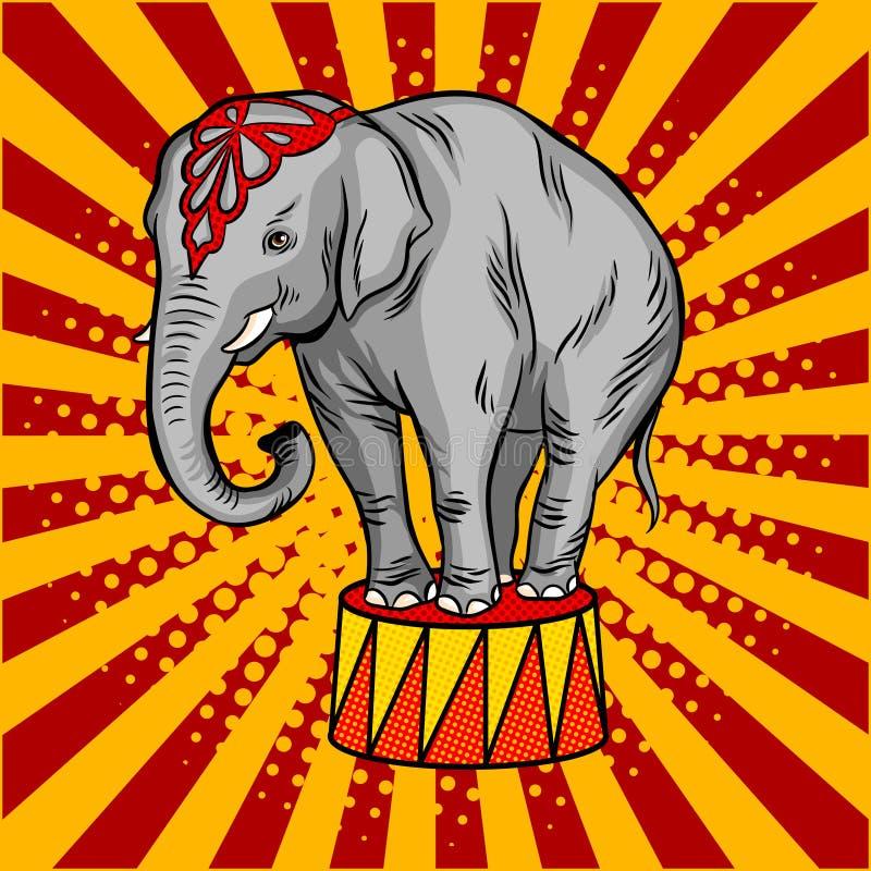 Éléphant de cirque sur le vecteur de style d'art de bruit de piédestal illustration libre de droits