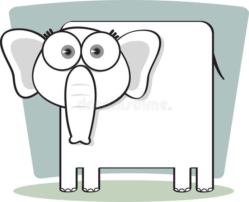 Éléphant de dessin animé en noir et blanc illustration stock