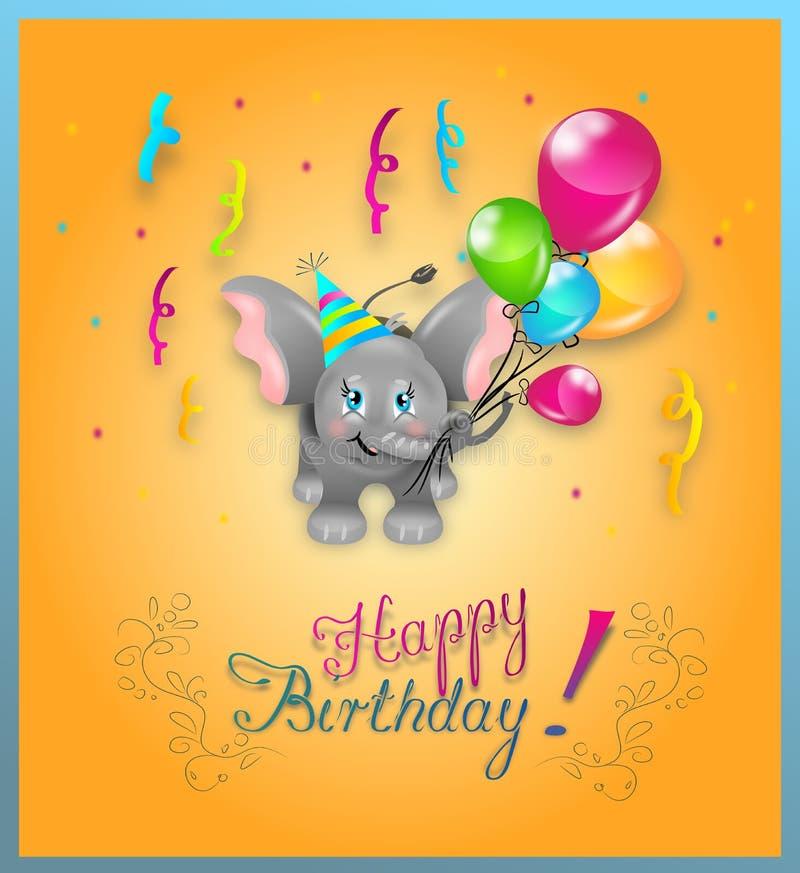 Éléphant de joyeux anniversaire illustration libre de droits