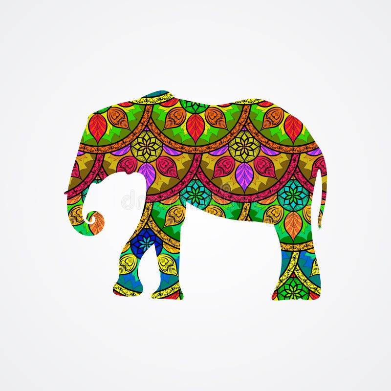 Éléphant de vecteur avec Mandala Patterns illustration stock