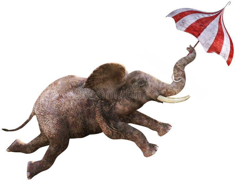 Éléphant drôle de vol, parapluie, d'isolement illustration stock
