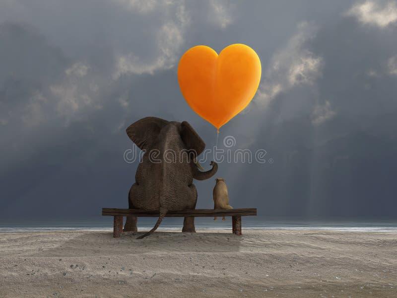 Éléphant et crabot retenant un ballon en forme de coeur illustration de vecteur