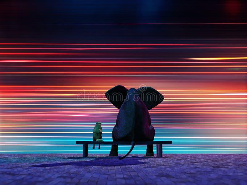 Éléphant et crabot se reposant sur un bord de la route illustration stock