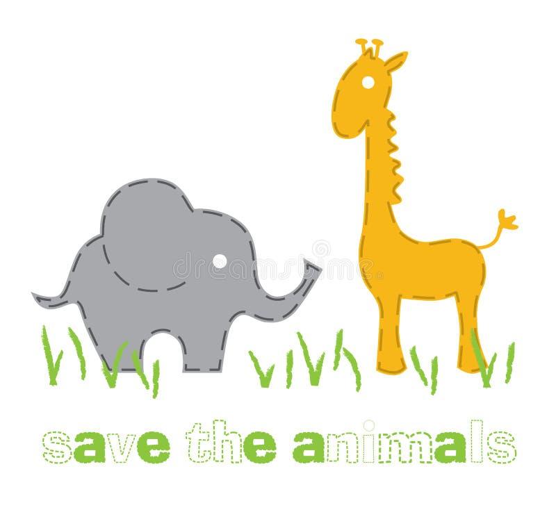 Éléphant et giraffe illustration de vecteur