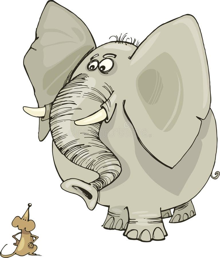 Éléphant et souris illustration de vecteur