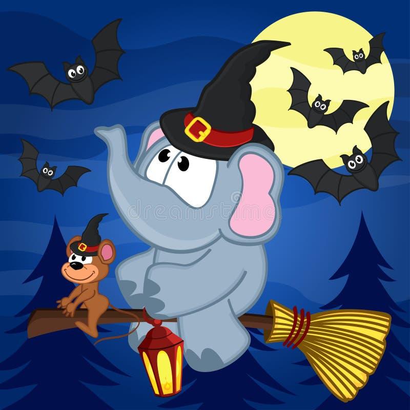 Éléphant et souris Halloween illustration de vecteur