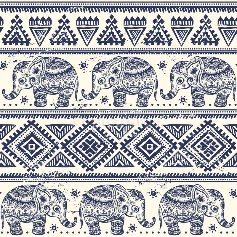 Éléphant ethnique sans couture illustration libre de droits