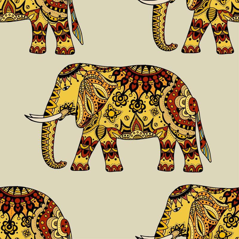 Éléphant ethnique tiré par la main illustration stock