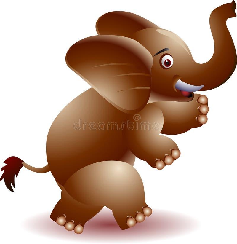 Éléphant gai soulevant ses mains illustration stock